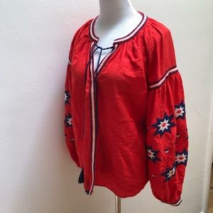 Embroidered Red Peasant Blouse with wide sleeves